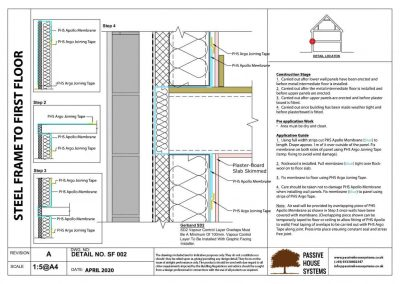 Steel frame to first floor - Passive House Systems